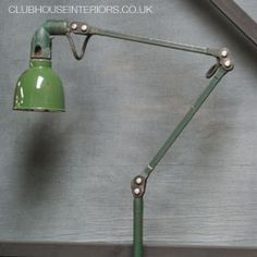 Vintage angle-poise industrial style lamp from the in Original colour. Vintage Wood, Vintage Decor, Desk Lamp, Table Lamp, Industrial Style Lamps, House Lamp, Anglepoise, Interiors, Colour