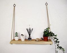 Your place to buy and sell all things handmade Hanging Rope Shelves, Floating Shelves, Annex Ideas, Oak Shelves, Live Edge Wood, Linseed Oil, Light Oak, How To Make Shorts, Solid Oak