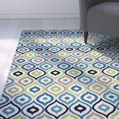 Found it at AllModern - Lucia Ivory/Navy Indoor/Outdoor Area Rug