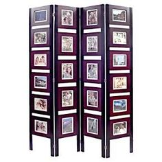 """• Wood with a mahogany finish<br>• Holds 22 pictures, from 4""""x6"""" with mat to 5""""x7"""" without<br><br>You'll love to gaze at the Oscar Room Divider Picture Folding Screen 4 Panel in Brown from Proman Products. The privacy screen accepts 22 of your photos in both landscape and portrait orientations."""