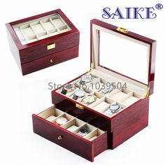 Free shipping 20 Slots Watch Display Box Red MDF Brand Watches Box Case Fashion 20 Grids Two Layers Watch Storage Gift Box M064