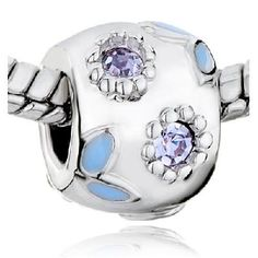 XTRA PHOTONS!  Pugster Brand Silver Tone W/Blue and Lavendar Sparkling Crystals! ONLY ONE AVAILABLE.