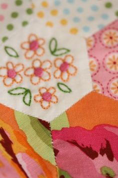 Embroidered Hexies by Leanne of Leanne's House