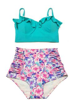 f500ed0ba6e05 Mint Midkini Top and Pink Flora High waisted Highwaist Shorts Bottom  Vintage Retro Swimwear Swimsuit Bikini Swim Swimming Bathing suit S M on  Wanelo