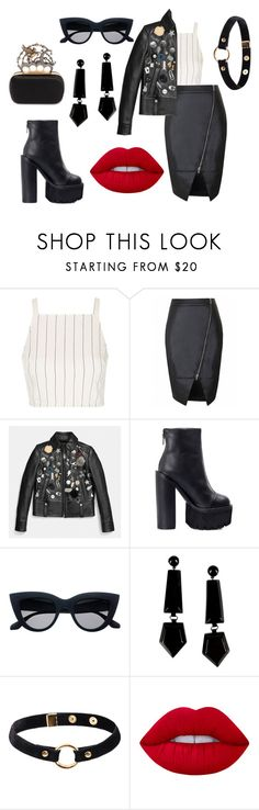 """Rocker Chic"" by mack-et-la-mode ❤ liked on Polyvore featuring Topshop, Coach, Jeffrey Campbell, Emporio Armani, Nika, Lime Crime, Alexander McQueen, rockerchic and rockerstyle"