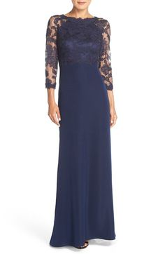 Free shipping and returns on Tadashi Shoji Embroidered Lace Gown (Regular & Petite) at Nordstrom.com. A sheer lace bodice with floral embroidery and corded detailing heightens the romantic charm of this classic evening dress designed with a floor-pooling black skirt.
