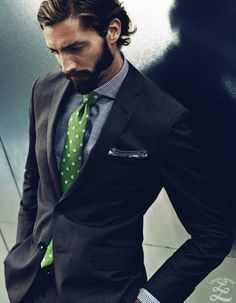 Shop this look on Lookastic: http://lookastic.com/men/looks/white-and-black-dress-shirt-green-tie-white-pocket-square-charcoal-suit/9213 — White and Black Plaid Dress Shirt — Green Polka Dot Tie — White Pocket Square — Charcoal Suit