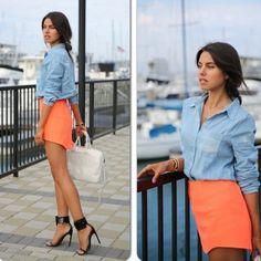 Denim and neon skirt