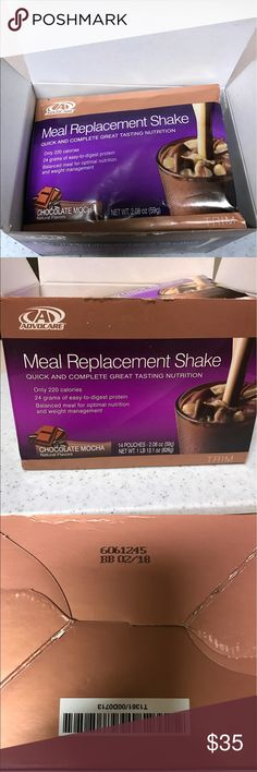 Advocare Meal Replacement Shake Open box with 14 pkg of  Chocolate Mocha flavor meal replacement. advocare Other