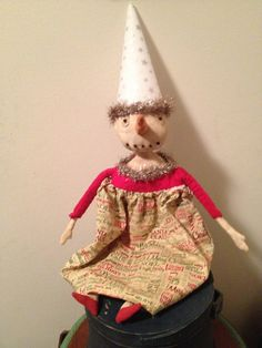 Primitive Christmas Snowgal Snowman by Rabbithollowprims on Etsy
