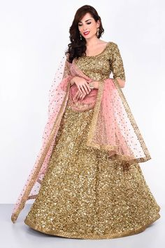 A gorgeous all gold sequins lehenga set. Its for just 8k on rent. Perfect wedding pick for the sister of the bride/groom #Frugal2Fab