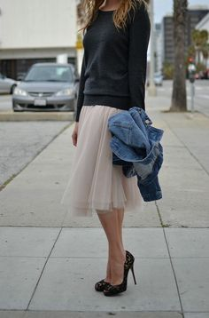 underplaying a tulle skirt and heels
