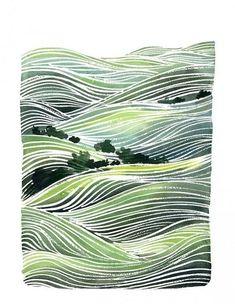 Yao Cheng Handmade Watercolor Painting- Landscape Green Hills- Wall Art Watercolor Print via Etsy Watercolor Landscape, Landscape Art, Landscape Paintings, Watercolor Paintings, Green Watercolor, Watercolor Design, Painting Inspiration, Art Inspo, Art Aquarelle