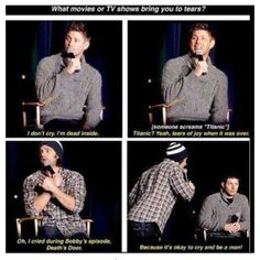 Jared and Jensen on crying during TV shows or movies.