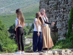 Tourists enjoy snapping selfies outside century Gjirokaster Castle in Gjirokaster, Albania. 12th Century, Albania, Selfies, The Outsiders, Southern, Castle, Fashion, Moda, Fashion Styles