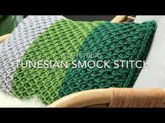 Tunisch haken: Tunesian Smock Stitch - YouTube