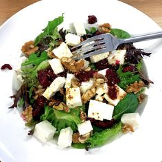 This Low Carb Feta, Walnut and Cranberry salad is super simple, Vegetarian friendly and can be thrown together in seconds.