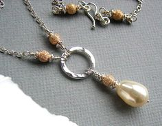 Ivory Pearl Necklace Swarosvki Bead Pendant by BeguiledByTheBead