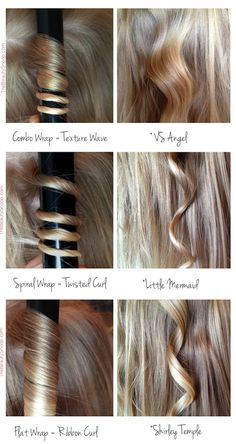 Figure out how to use your curling iron to get different looks. How you wrap your hair around the barrel of the curling iron can drastically affect the end result. Get more curling tips at The Beauty Snoop. Vintage Waves Tutorial, Beach Waves Tutorial, Ribbon Curls, Ribbon Hair, How To Curl Your Hair, How To Curl Hair With Curling Iron, Curling Hair With Wand, Tips For Curling Hair, Curling Iron Curls