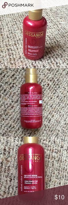 USED: Dessange Top Coat Serum Serum for color-treated hair. Vitamin E. UV filter. Used about three pumps. 3.4 oz. Dessange Paris Makeup