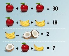 The latest puzzle dividing the Internet is a seemingly straight-forward math problem, featuring apples, bananas and coconuts but people are having trouble arriving at a clear-cut answer
