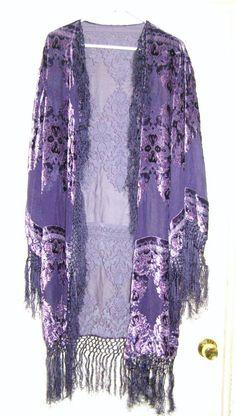 Long Duster Vintage DECO Gatsby Art Silk burnout velvet fishnet ...