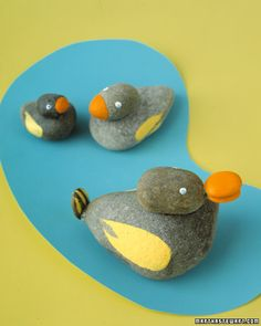 Contented duck rocks have secure beaks, attached with glue.