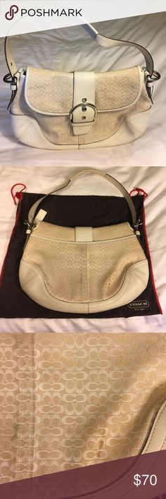 Coach Mini Signature Hobo w/ buckle flap Coach mini signature hobo. Loved condition.  Has a few tiny stains here and there and a smear on the back.  But not bad for a light colored bag.  I haven't tried to get them off but I'm sure a little love would help.  Strap has some wear marks. Inside is near perfect. Dust bag included. 13 inches wide at the widest part. 9 inches tall and approx. 3 deep. Coach Bags Hobos