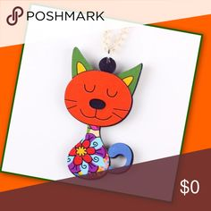 """Coming Soon Kitty Cat Necklace Whimsical cat necklace for the cat lover in you! Bold charming color on approximately 17"""" chain. The cutesy pendant measures approximately 4.7"""" x 2.3"""" Woman, child, tween, or teen it's a cute winner! Great gift idea! Accessories Jewelry"""