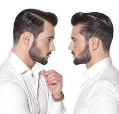 slicked back men's pompadour hairstyle