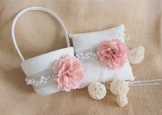 Wedding Pillow and Basket Set  Ring Bearer Pillow Flower Basket by MrsMyLaurie