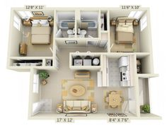 3D Floor Plan image 1 for the 2 Bed 2 Bath Floor Plan of Property Crown Court Apartments