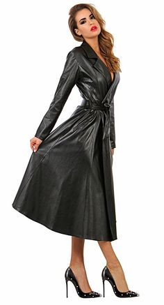 Leather Trench Coat Woman, Long Leather Coat, Leather Jackets, Tight Dresses, Sexy Dresses, Leder Outfits, Cute Coats, Leather Dresses, Leather Fashion