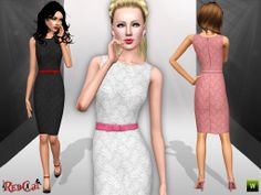 Pencil Dress with Lace Details  http://www.thesimsresource.com/downloads/details/category/sims3-clothing-female/title/pencil-dress-with-lace-details/id/1236300/