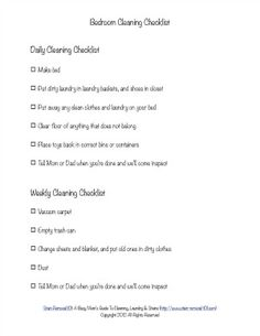 Free bedroom cleaning checklist with daily and weekly tasks for kids {on Stain Removal 101}