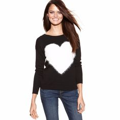 INC International Concepts Women's Black Texturedheart Crewneck Sweater Size XL #INCInternationalConcepts #Crewneck