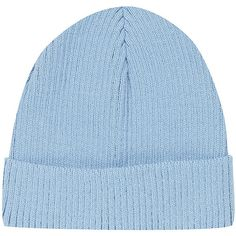 TOPSHOP Shorter Brim Beanie ($20) ❤ liked on Polyvore featuring accessories, hats, beanies, fillers, blue, blue beanie hat, acrylic hat, ribbed beanie hat, ribbed beanie and topshop