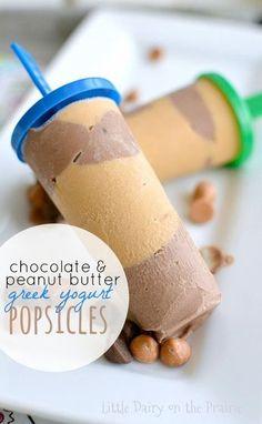 Chocolate and Peanut Butter Greek Yogurt Popsicles