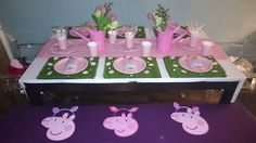 2nd Birthday Peppa Pig Tea Party Table Set Up