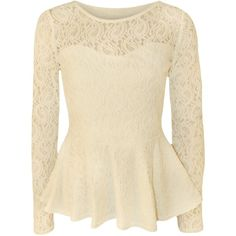 WearAll Women's Lace Long Sleeve Peplum Top Cream US 4-6 (UK 8-10) ($22) ❤ liked on Polyvore featuring tops, blouses, shirts, blusas, long-sleeve shirt, long sleeve blouse, long sleeve shirts, lace blouse and long sleeve lace top