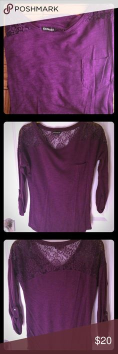 Express purple cotton & lace 3/4 sleeve top Pretty purple. Soft cotton. Lace around the neck and shoulders. Comfy and elegant. Only worn a couple of times. Express Tops