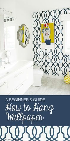 A Beginners Guide – How to Hang Wallpaper – Fresh Crush How to hang wallpaper. Gorgeous navy trellis paper for a coastal preppy look. Install this wallpaper in a few easy steps. Navy Wallpaper, Trellis Wallpaper, Wallpaper Ideas, Hanging Wallpaper, Wallpaper Installation, Bohemian Wallpaper, Jesus Wallpaper, Wallpaper Paste, Diy Tapete