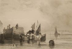 Antique print, Victorian, an engraving published in 1840 after a painting by Austin Pinx titled The Market Boat. The work was engraved by Grundy. Antique Prints, See Picture, Victorian, Boat, Marketing, Antiques, Pictures, Painting, Antiquities