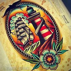 Best tattoo old school ship american traditional Ideas Tattoo Old School, Neo Traditional Tattoo, American Traditional, Traditional Lighthouse Tattoo, Traditional Ideas, Trendy Tattoos, Tattoos For Guys, Desenhos Old School, Flash Tattoo