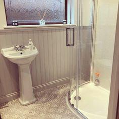 Laura Ashley Mr Jones tiles in Dove Grey. Grey Bathroom Tiles, Grey Floor Tiles, Grey Flooring, Bathroom Renos, Bathroom Flooring, Bathroom Wall, Master Bathroom, Bathroom Ideas, Laura Ashley Mr Jones Tiles