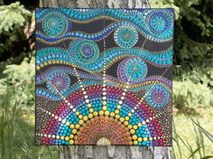 Dot Mandala Sun Painting 12x12 Acrylic Painting on by KailasCanvas