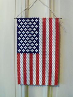 Patriotic American Flag Beaded Banner by PJsNeedfulStuff on Etsy, $20.00