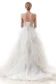 Luxurious A-Line Sweetheart Natural Court Train Satin and Organza Ivory/Veiled Rose Sleeveless Lace Up-Corset Wedding Dress with Beading and Ruffles LD4039#Cocomelody#weddingdresses#bridalgown#