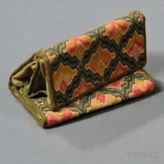 Canvas work Pocketbook, America, late 18th century, folded size 5 x 7 1/2 in.