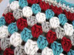 Crochet handmade baby blanket red aqua grey por ArrayOfCrochet